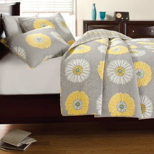 Modern Grey White Yellow Floral Bedding Twin Full/Queen King Quilt Set