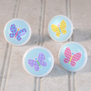 Butterfly Ceramic Drawer Knob Set of 4