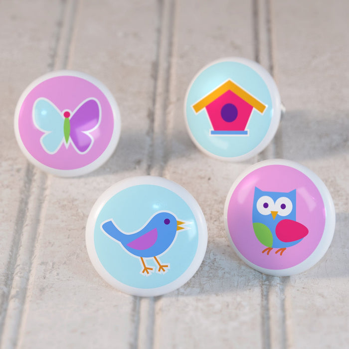 "Spring Birds Small 4pc Kids Ceramic Drawer Knob Set 1 1/2"" - Bluebird Birdhouse Owl Butterfly"