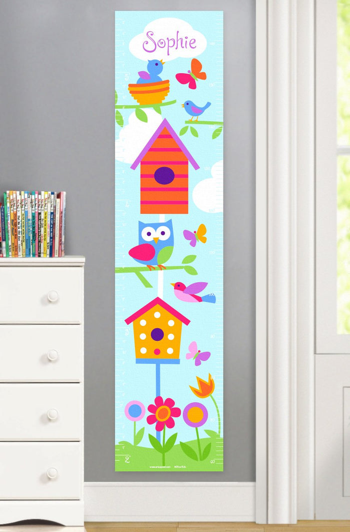Spring Birds Nests Owls Personalized Kids Height Growth Chart - Canvas or Self-Adhesive