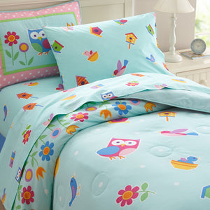 Birds & Owl Cotton Comforter Set Full/Queen Girl Bedding or Duvet Cover