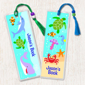 Ocean Fish Whale Dolphin Turtle Personalized 2 PC Bookmark Set
