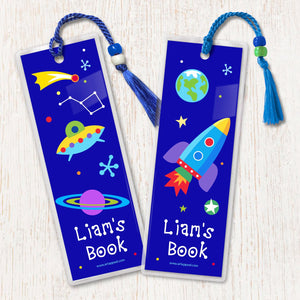 Outer Space Rocket Planets UFO Personalized 2 PC Bookmark Set