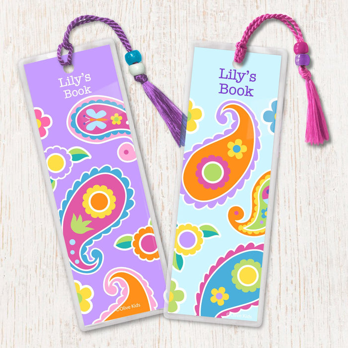 Paisley Floral Personalized 2 PC Bookmark Set
