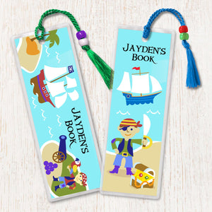 Pirates & Pirate Ships Personalized 2 PC Bookmark Set