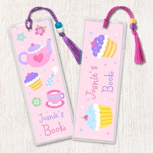 Tea Party Cupcake Treats Personalized 2 PC Bookmark Set