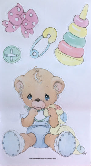 "Precious Moments Babies Boy, Girl & Bears Wall Stickers Decals 10"" x 18"" 4 Sheets Peel & Stick"
