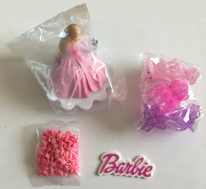 Glamour Barbie Pink Dress Birthday Cake Party Topper Deco Set - 8pc Kit with Hairclips