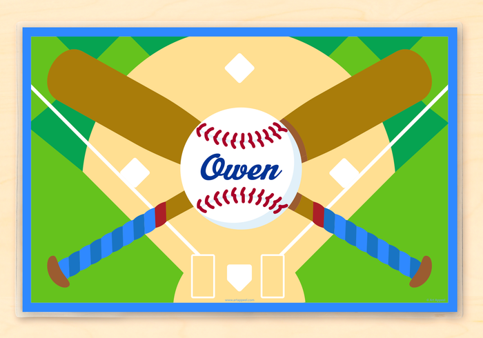 "Baseball Personalized Placemat 18"" x 12"" with Alphabet"