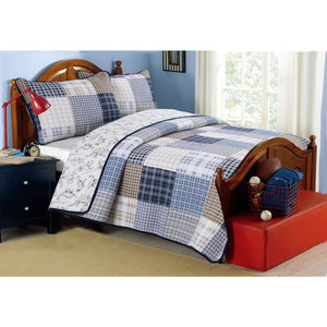 Blue White Striped Patchwork Reversible Dinosaur Boy Bedding Twin Full/Queen King Cotton Quilt Set