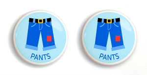"Boy's Pants Ceramic 2"" Drawer Knob - Set of 2"