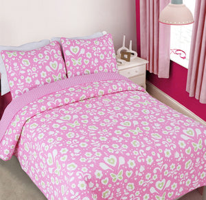 Pink Butterflies Hearts & Flowers Girl Bedding Full/Queen Cotton Quilt Set