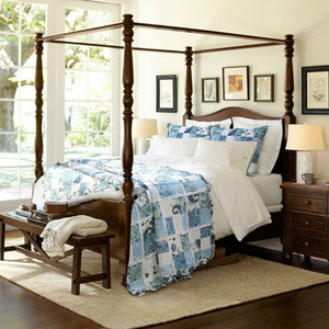 Romantic Shabby Chic Blue White Patchwork Girl Bedding Twin Full/Queen King Ruffled Bedspread