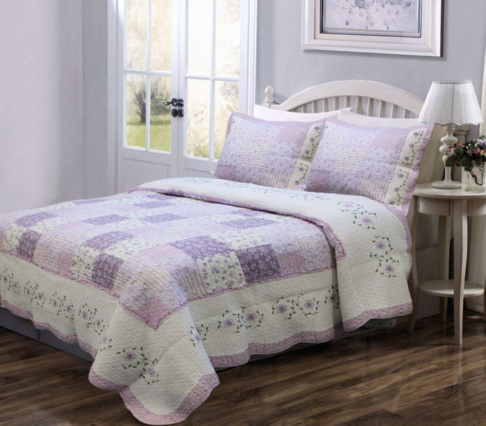 Romantic Lavender Girl Bedding Floral Lace & Patchwork Twin Full/Queen King Cotton Lilac Reversible Bedspread