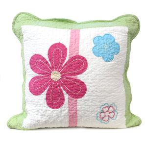 Pink & Green Daisy Floral - Decorative Pillow