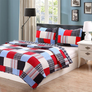 Varsity Plaid Patchwork Teen Boy Bedding Twin Full/Queen Cotton Quilt Set Elegant Red Navy Blue