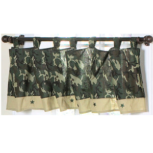 Green Army Camouflage Window Valance for Boys Tab Top