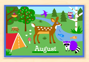 "Camping Trip Deer Raccoon Personalized Placemat 18"" x 12"" with Alphabet"