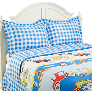 Trucks Tractors Cars Police Bedding Twin Full Queen Comforter or Duvet Cover Set Transportation - Blue Plaid