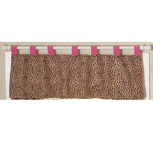 Cheetah Brown Pink Animal Print Window Valance Tab Top