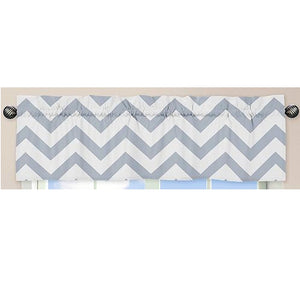 Grey White Large Chevron Print Zig Zag Window Valance