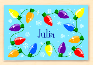"Christmas Lights Personalized Placemat 18"" x 12"" with Alphabet"