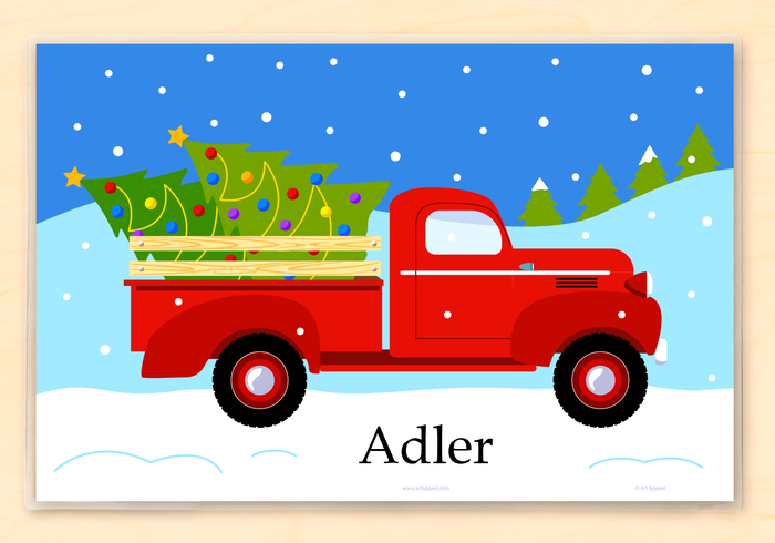 "Christmas Vintage Old Red Truck & Christmas Tree Personalized Placemat 18"" x 12"" with Alphabet"