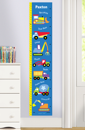 Construction Trucks Self-Adhesive Growth Chart