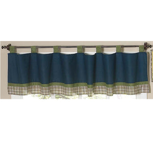 Teal Blue Green Plaid Stripe Window Valance Tab Top