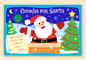 "Cookies For Santa Christmas Personalized Placemat 18"" x 12"" with Alphabet"