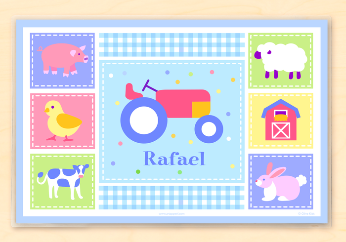 "Farm Tractor & Animals Personalized Placemat 18"" x 12"" with Alphabet"