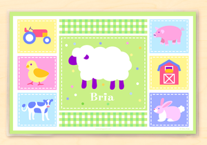 "Farm Chick & Animals Personalized Placemat 18"" x 12"" with Alphabet"