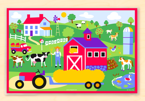 "Country Farm Girl Personalized Placemat 18"" x 12"" with Alphabet"