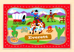 "Ride'em Western Cowboy Personalized Placemat 18"" x 12"" with Alphabet"