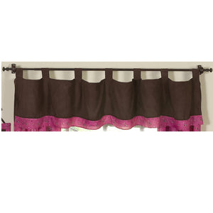 Chocolate Brown Microsuede & Pink Paisley Window Valance Tab Top