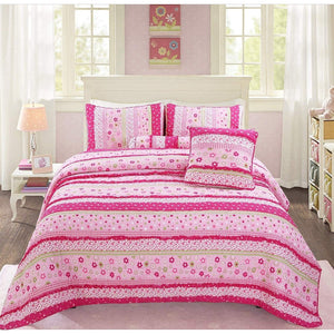 Pink Polka Dot Lace Floral Striped Girl Bedding Twin Full/Queen Cotton Quilt Set
