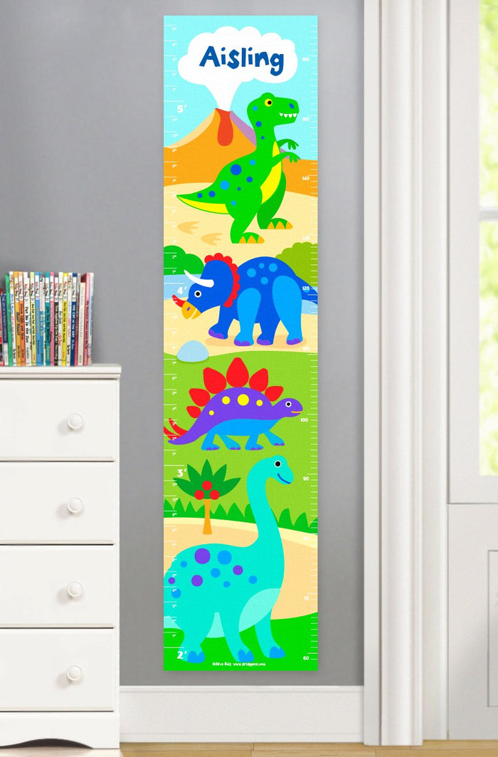 Kids Dinosaur Personalized Height Growth Chart Self-Adhesive or Canvas