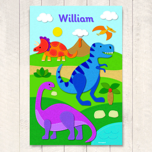 "Felt Dinosaurs Personalized Kids Wall Art Print 12"" x 18"""
