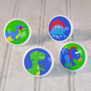 Dinosaur 4pc Kids Ceramic Drawer Knobs Set 1 1/2""