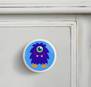 Blue Shaggy Monster Ceramic Drawer Knob Set