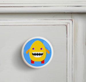 Yellow Monster Ceramic Drawer Knob Set