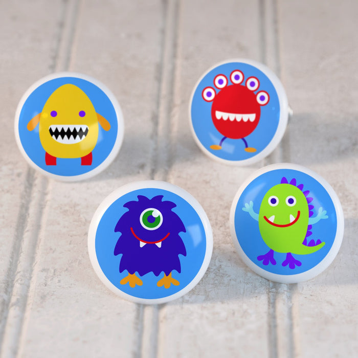 Funny Monsters 4pc Ceramic Kids Drawer Knob Set 1 1/2""
