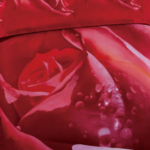 Red Rose Print Duvet Cover Bedding Set Queen or King Luxury Designer Ensemble