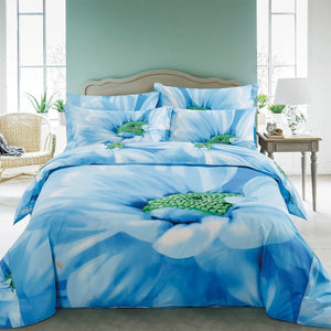 Azure Blue & White Daisy Floral Duvet Cover Bedding Set Queen or King Designer Ensemble