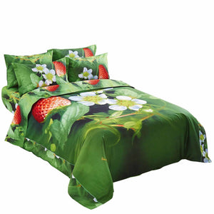 Nature Strawberry Duvet Cover Bedding Set Queen or King Luxury Designer Ensemble Green Red