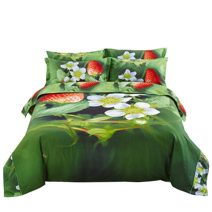 Nature Strawberry Duvet Cover Bedding Set Twin XL or Queen Luxury Designer Ensemble Green Red