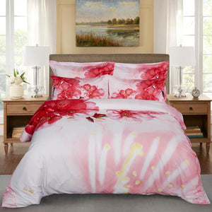 Pink Cherry Tree Blossom Floral Duvet Cover Bedding Set Queen or King Designer Ensemble