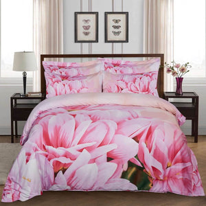 Pink Magnolia Floral Duvet Cover Bedding Set Queen or King Designer Ensemble