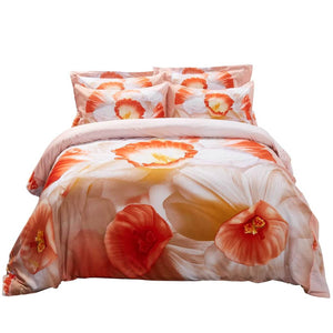 Floral White Orange Daffodils Duvet Cover Bedding Set Narcissus Queen or King Luxury Black Designer Photo Real Ensemble