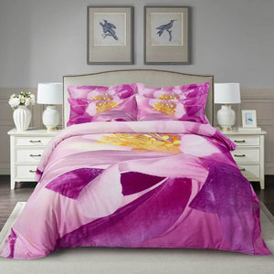 Pink Purple Cherry Blossom Floral Duvet Cover Bedding Set Queen or King Designer Ensemble